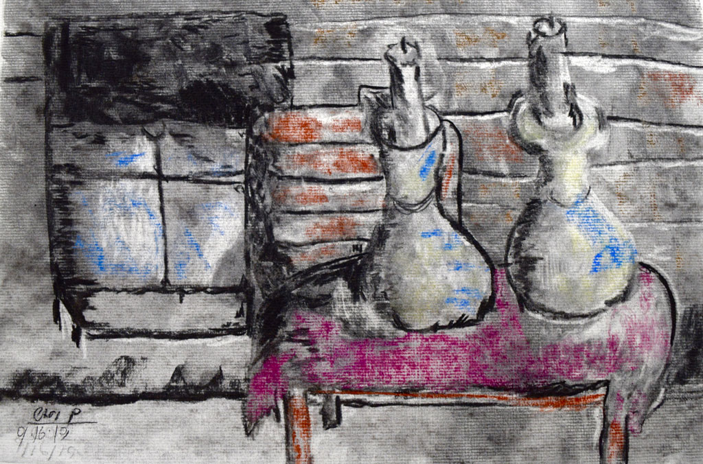 Candles in their Home (2019) by Cari P., Charcoal and Pastel on charcoal paper