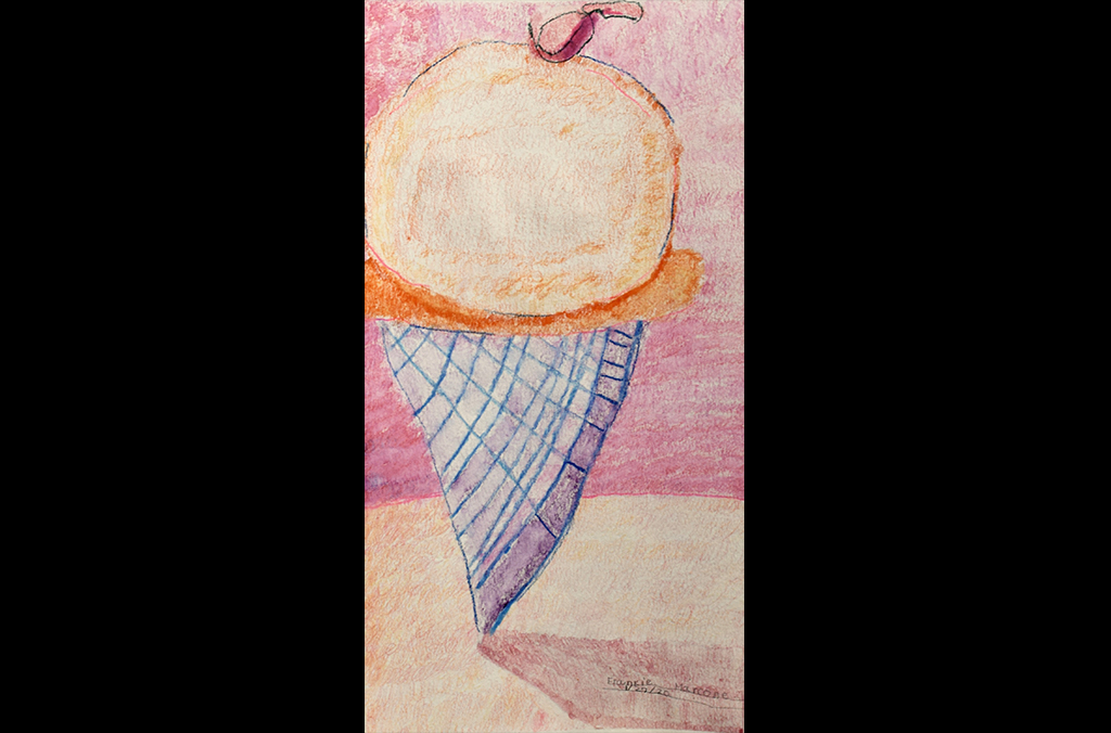 Ice Cream Cone (2020) by Frankie M., Mixed-media on watercolor paper