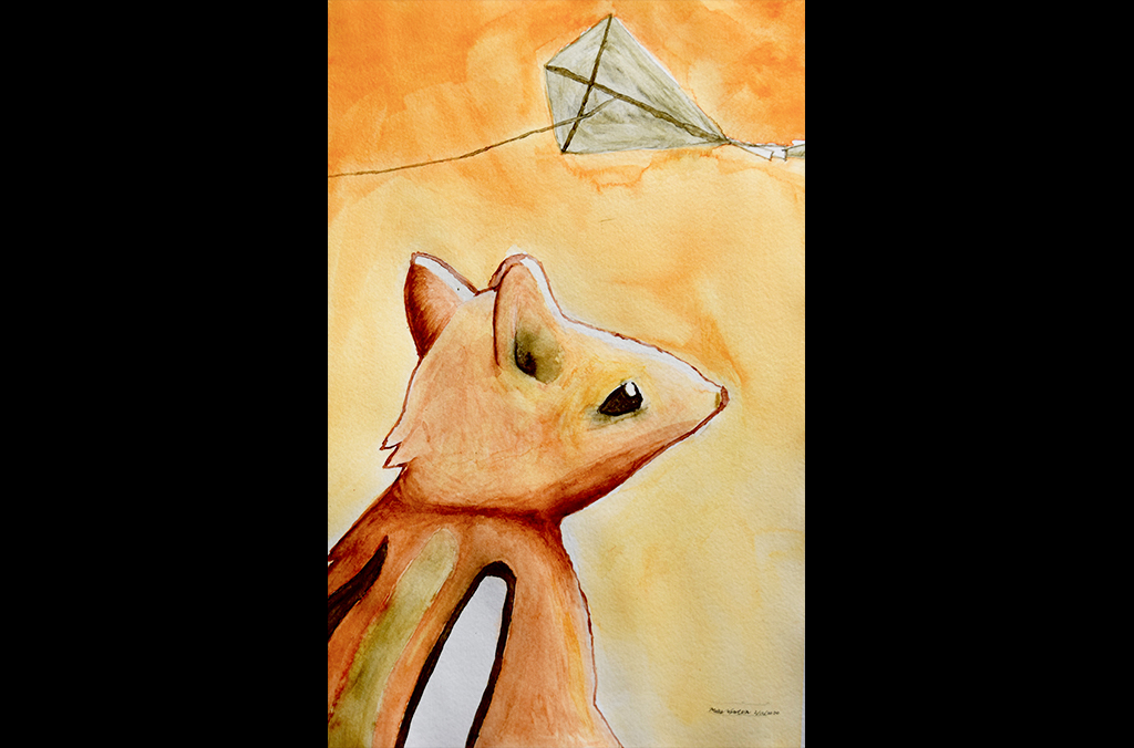 Chipmunk With Kite (2020) by Miles W., Watercolor on watercolor paper