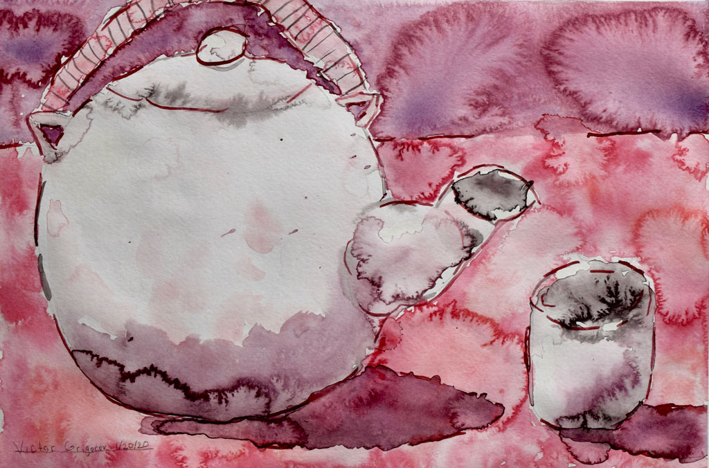Teapot (2020) by Victor G., Watercolor on watercolor paper